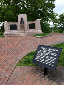 Approximately 40 yards away from this memorial was the traditional site of Lincoln's address.